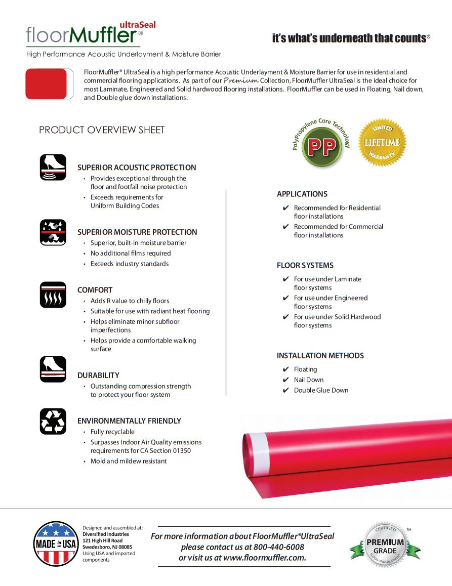 FloorMuffler Premium Underlayment Product Brochure