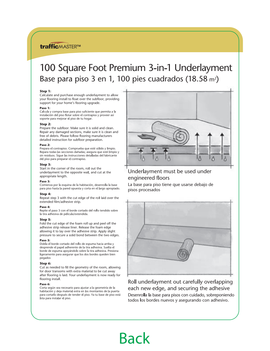 TrafficMASTER Premium 3in1 Underlayment Installation Guide 2