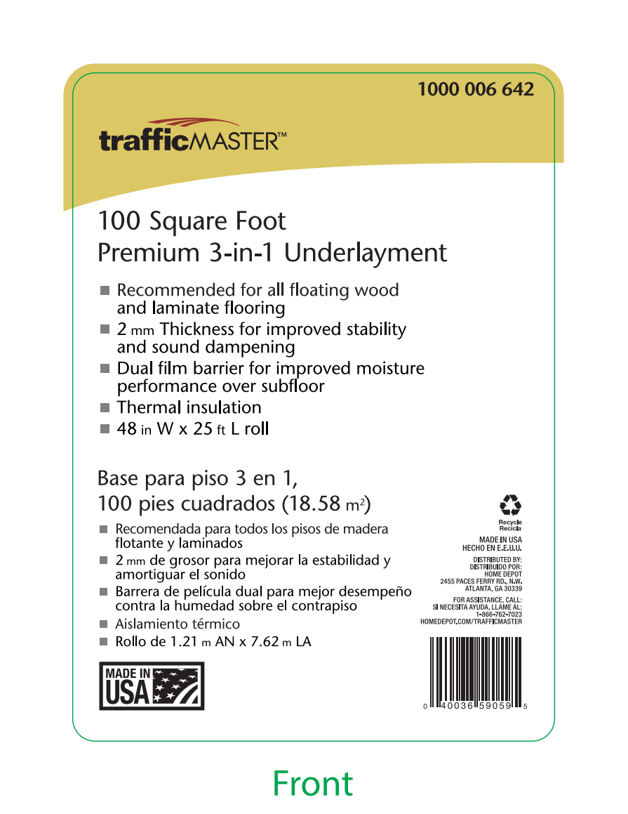TrafficMASTER Premium 3in1 Underlayment Installation Guide