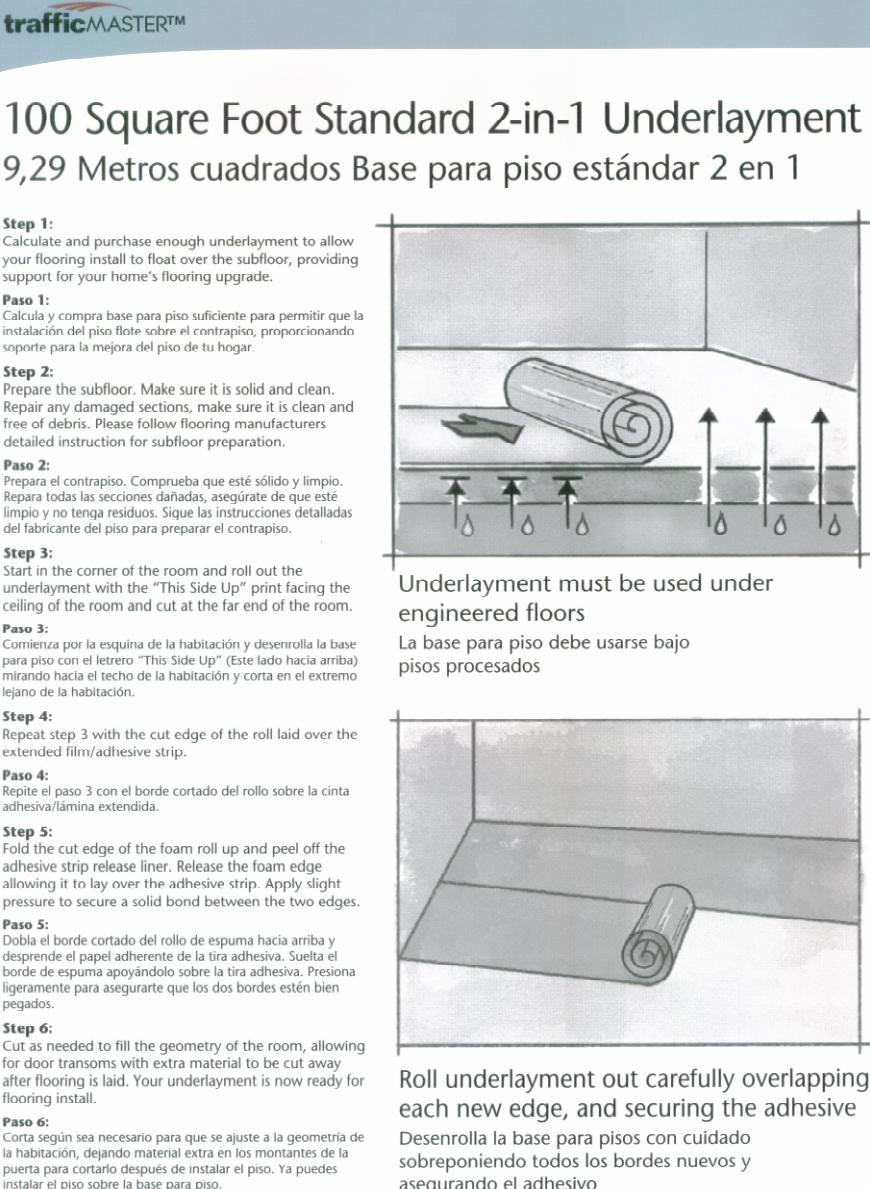 TrafficMASTER Standard 2in1 Underlayment Installation Guide