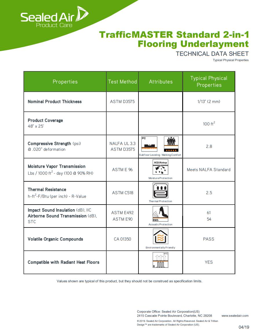 TrafficMASTER Standard 2in1 Underlayment Product Brochure