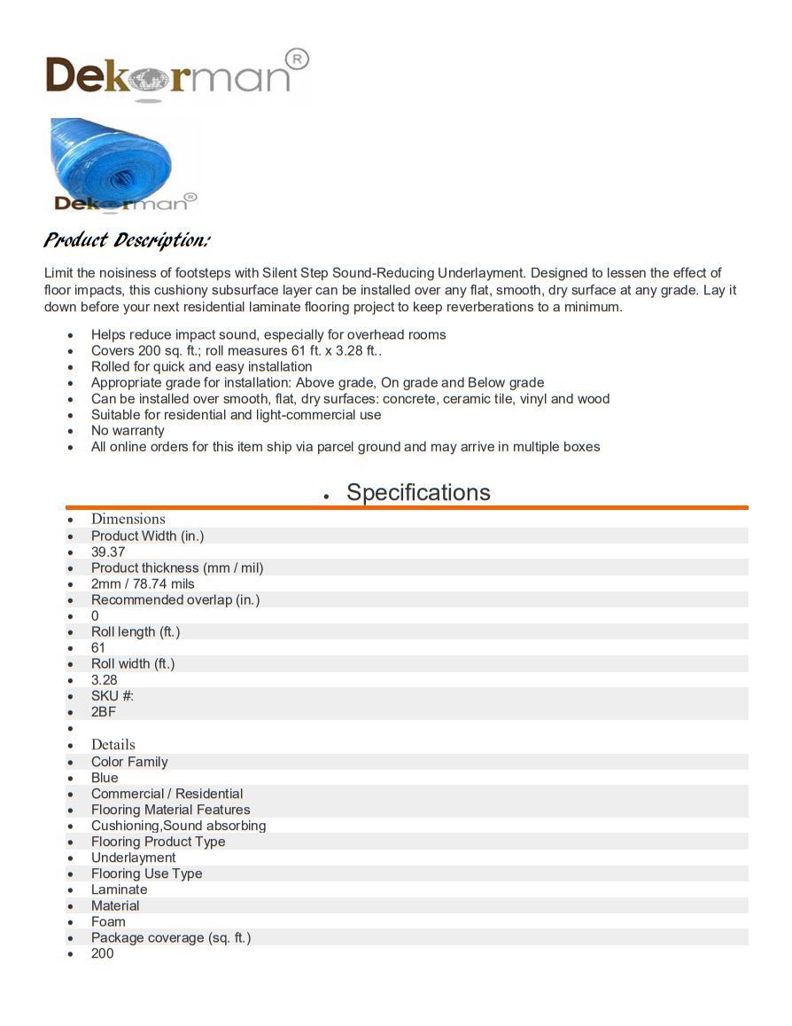 Dekorman Blue Foam Underlayment Brochure