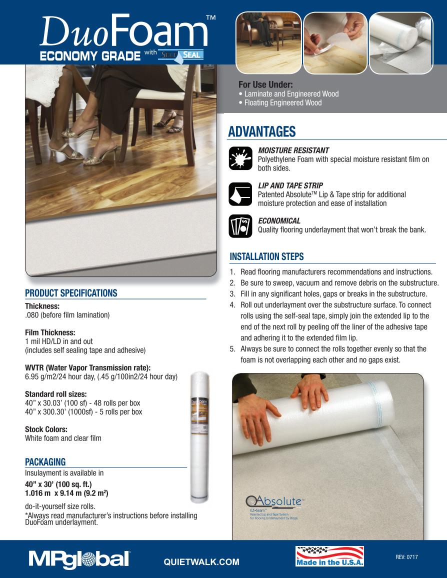 Duo Foam Standard Foam Underlayment Installation Instructions