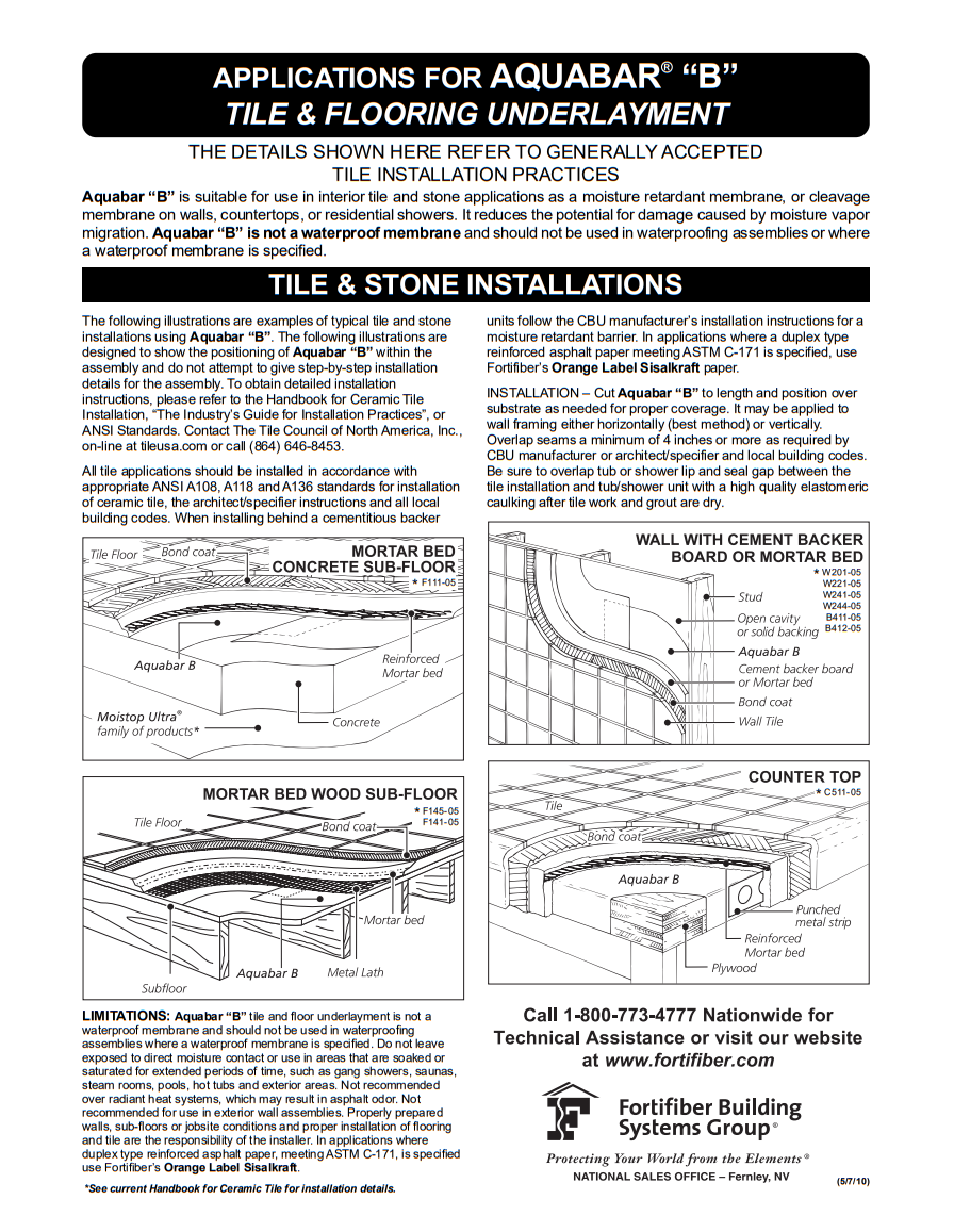 "Fortifiber Aquabar ""B"" Underlayment Installation Guide 2"