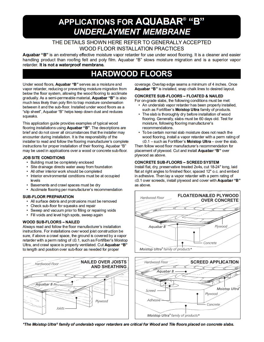 "Fortifiber Aquabar ""B"" Underlayment Installation Guide"