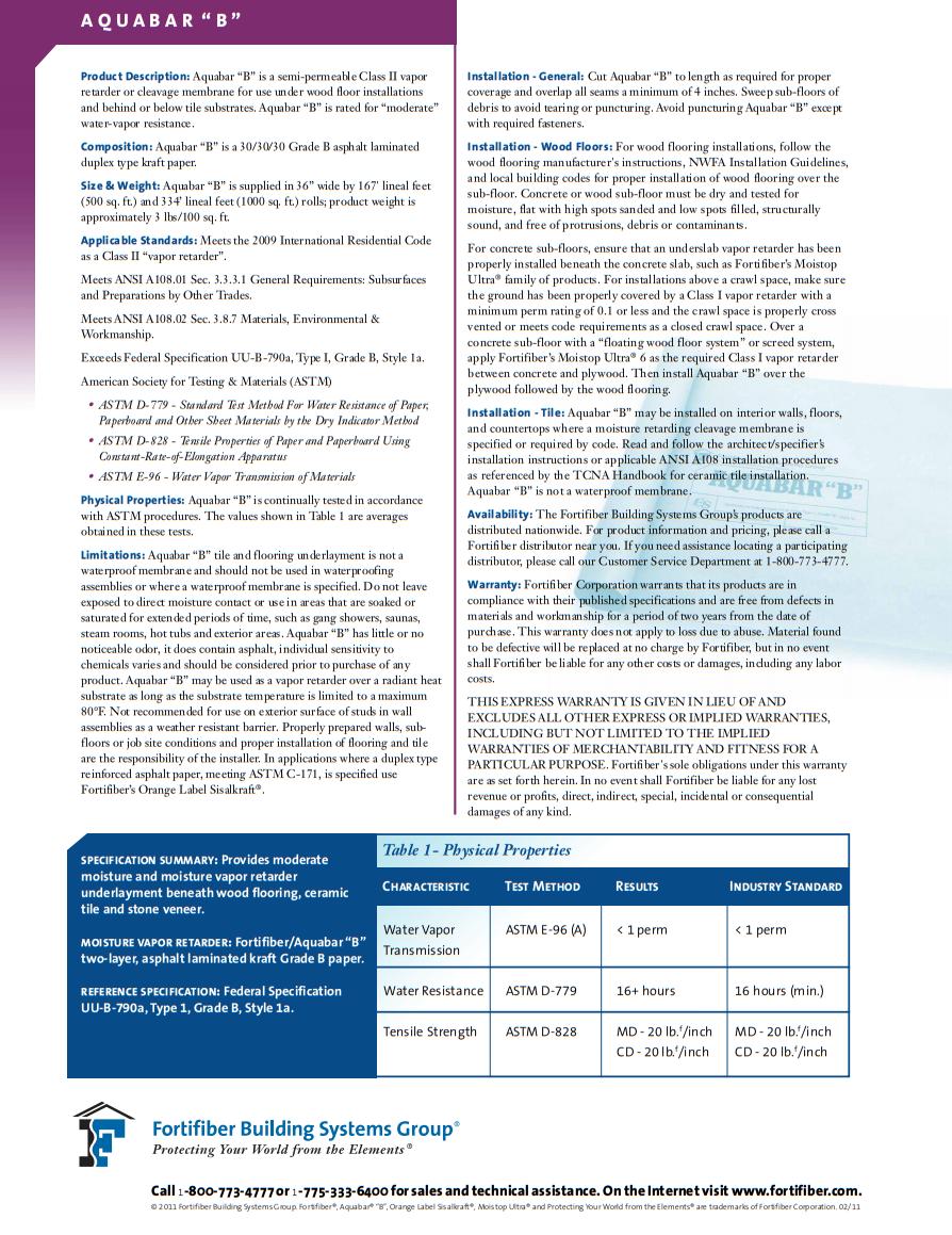 Fortifiber Aquabar B Underlayment Product Brochure 2