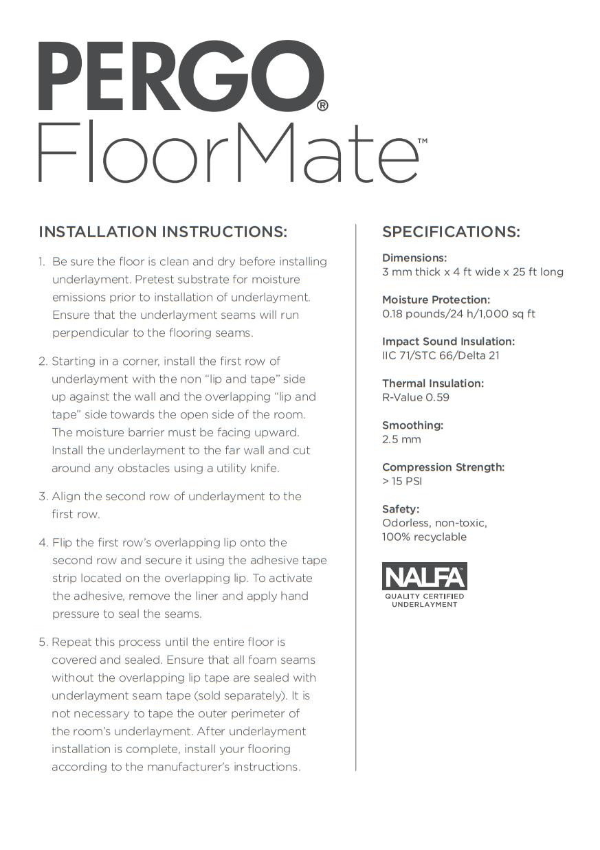 Pergo FloorMate Foam Underlayment Installation Instructions