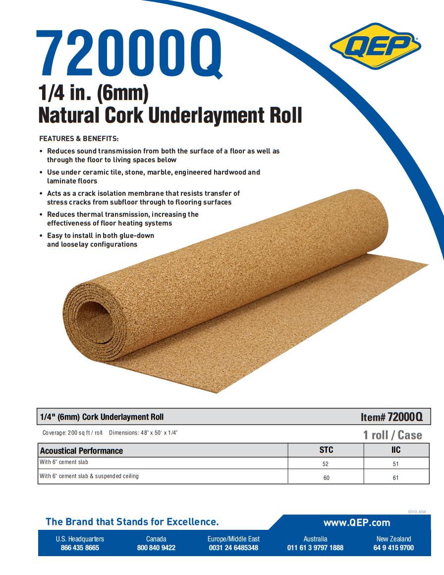 QEP Natural Cork Underlayment Product Brochure