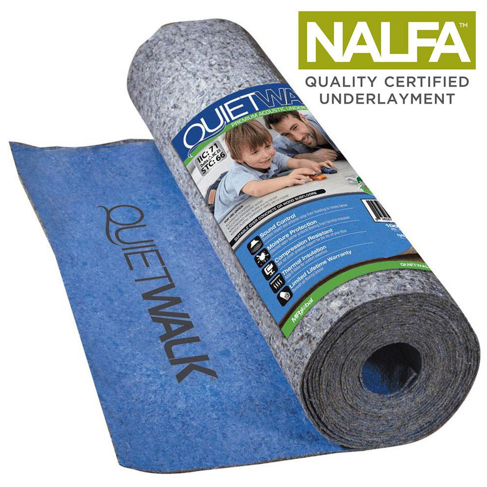 QuietWalk Underlayment With Sound Barrier and Moisture Barrier for Laminate and Engineered Flooring
