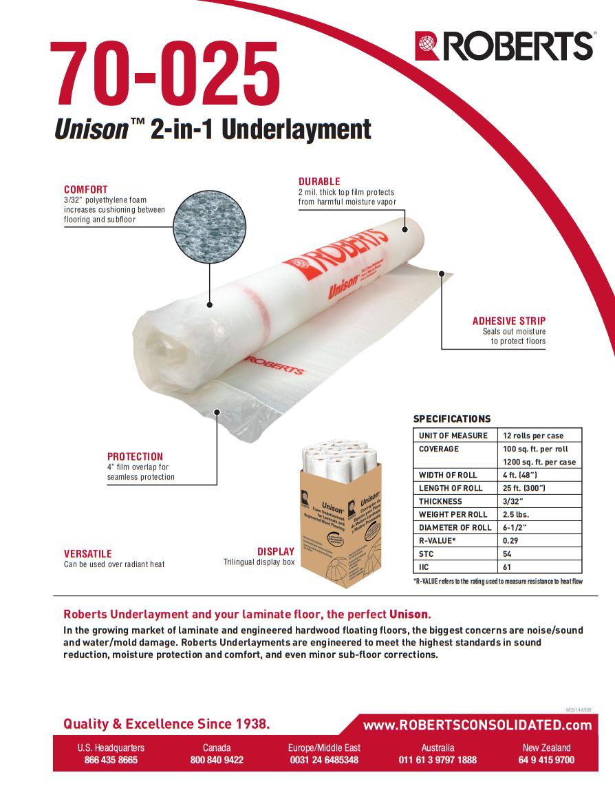 Roberts Unison 2in1 Underlayment Product Brochure